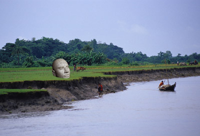 Fast eroding eastern edge of Bhola Is, Bangladesh.